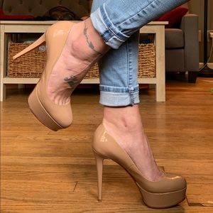 Louboutin Nude Patent Bianca 120MM - 38.5